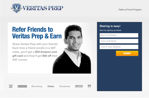 Veritas Prep refer-a-friend reward