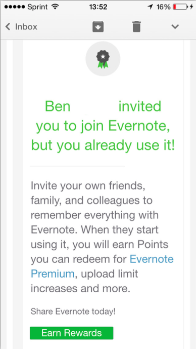 Evernote emails a reminder to refer to existing members who people try to invite