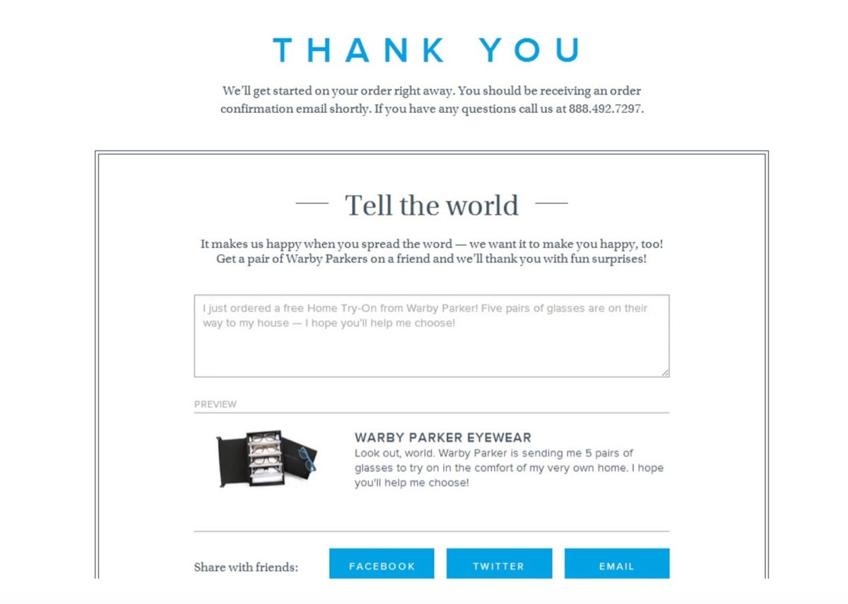 An example of referral marketing in post-purchase emails
