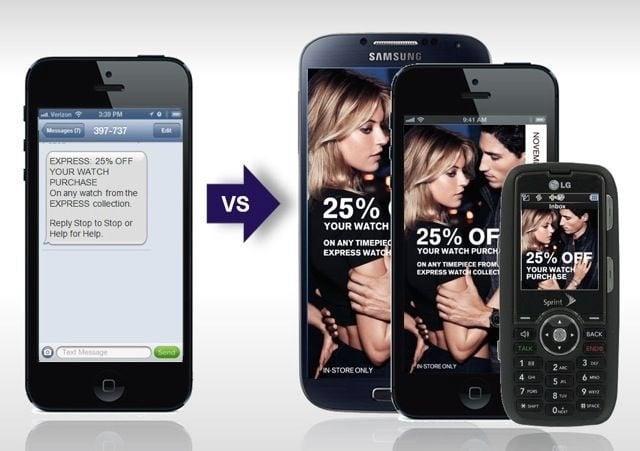 Example of referral marketing in rich text media vs text