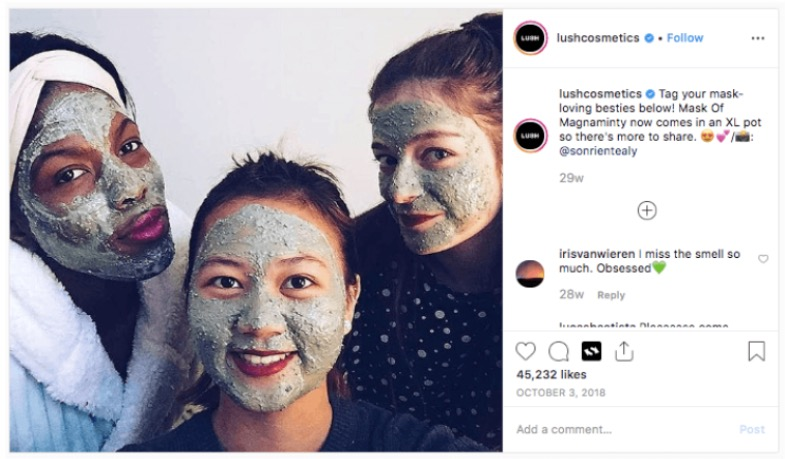instagram photo with women in facemasks